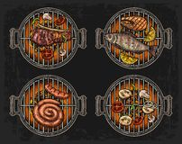 Barbecue grill top view with charcoal, mushroom, tomato, pepper, sausage, lemon, fish and beef steak. Food restaurant menu templat. Barbecue grill top view with Royalty Free Stock Images