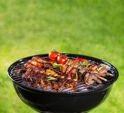 Barbecue grill with various kinds of meat. Placed on grass Stock Images