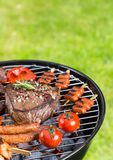 Barbecue grill with various kinds of meat Stock Image