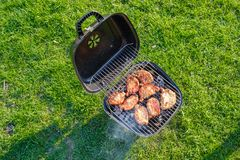 Barbecue grill with various kinds of meat. Placed on grass stock photography