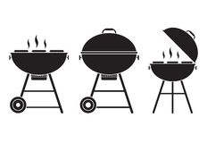 Barbecue Grill Vector Icon. In outline design. Opened bbq logo or label template vector illustration