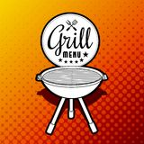 Barbecue grill. Vector illustration on yellow vintage background royalty free illustration