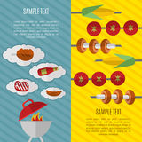 Barbecue grill vertical banners. BBQ vertical banners, vector illustrations. Barbecue grill with fire, tools, meat and skewers with vegetables on striped color Stock Photo