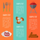 Barbecue grill vertical banners set. Barbecue grill vector illustrations in flat style. Charcoal kettle grill with firewood. Grill tools with beef steak. BBQ Stock Image