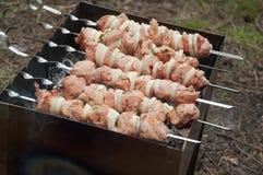 Barbecue in grill wordt gebraden die Royalty-vrije Stock Afbeeldingen