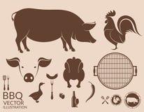 barbecue grilla odizolowywającego świnia Kurczak Fotografia Stock