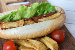Barbecue Grilled Hot Dog with ketchup, french fries and Cherry tomatoes Royalty Free Stock Images