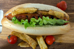 Barbecue Grilled Hot Dog with ketchup, french fries and Cherry tomatoes Royalty Free Stock Photos