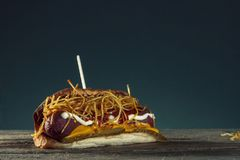Barbecue Grilled Hot Dog with Yellow Mustard.  Royalty Free Stock Photos