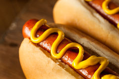 Barbecue Grilled Hot Dog. With Yellow Mustard Stock Image