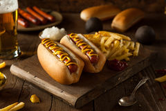 Barbecue Grilled Hot Dog. With Yellow Mustard Royalty Free Stock Images
