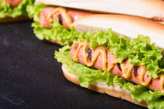 Barbecue Grilled Hot Dog. With Yellow Mustard on wooden board Stock Image