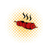 Barbecue Grilled icon, comics style Royalty Free Stock Photo