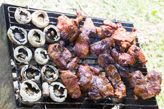 Barbecue grilled meat outdoor food bbq Royalty Free Stock Photos