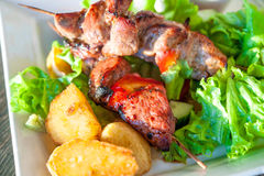 Barbecue, grilled meet with fried potato. Russian shashlik. Stock Image