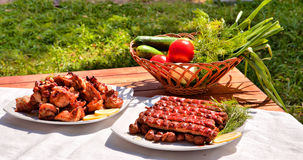 Barbecue and grilled sausages Royalty Free Stock Image