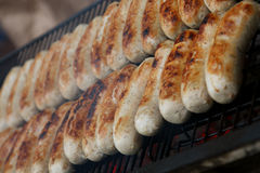 Barbecue: grilled stack of sausages Stock Image