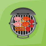 Barbecue and grilled steak, sausage and tomato. Top view. Stock Images