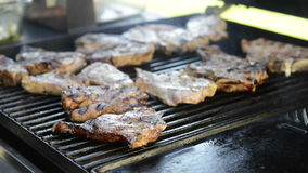 Barbecue Grilling Lamb Chops stock footage