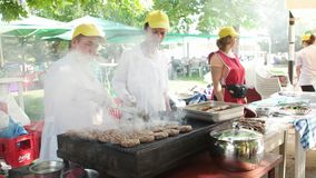 Barbecue grilling shish kebab, Kardzhali - Kircaali. KARDZHALI- BULGARIA, JULY 2015: Barbecue grilling shish kebab stock video