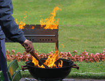 Barbecue grills and flame royalty free stock photo