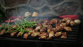 Barbecue grliling chicken and pepper, onion. Barbecue grliling chicken and vegetables stock footage
