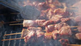 Barbecue grliling shish kebab. Barbecue grliling beef shish kebab stock footage