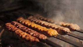 Barbecue grliling shish kebab. Barbecue grliling chicken and pork shish kebab stock video footage