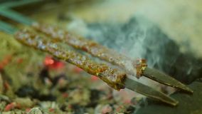 Barbecue grliling shish kebab slow motion. Barbecue grliling beef shish kebab stock footage