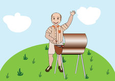 Barbecue guy. Middle-aged man behind the barbecue waving his hand welcoming Stock Image