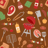 Barbecue home or restaurant rarty dinner products bbq grilling kitchen equipment vector seamless pattern Stock Photography