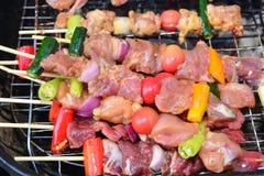 Barbecue on hot charcoal. Bangkok, thailand Stock Image
