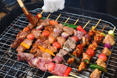 Barbecue on hot charcoal. Bangkok, thailand Royalty Free Stock Photos