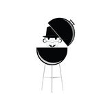 Barbecue with humain head vector. Illustration Royalty Free Stock Photo