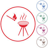 The barbecue icon Stock Photos