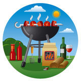 Barbecue icon. Illustration og a food products and objects for barbecue picnic Royalty Free Stock Image