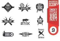 Barbecue icon set. Barbeque icon set, butcher, smoky, steak vector illustration