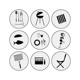 Barbecue icon set Stock Images