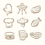Barbecue icon set. Vector hand draw barbecue icon set on beige Stock Images