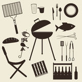 Barbecue icon set Royalty Free Stock Images