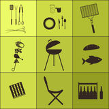Barbecue icon set Stock Photo