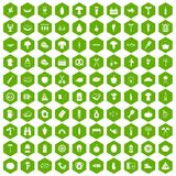 100 barbecue icons hexagon green. 100 barbecue icons set in green hexagon isolated vector illustration royalty free illustration