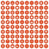 100 barbecue icons hexagon orange. 100 barbecue icons set in orange hexagon isolated vector illustration royalty free illustration
