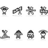 Barbecue icons. Icon set showing a grill a long fork and spatula combined with the words barbecue and bbq Stock Photography