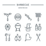 Barbecue icons line set. Stock Images