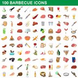 100 barbecue icons set, cartoon style. 100 barbecue icons set in cartoon style for any design illustration vector illustration