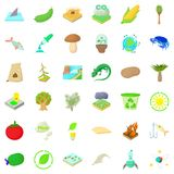 Barbecue icons set, cartoon style Stock Photos