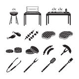 Barbecue icons set Royalty Free Stock Photography
