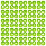 100 barbecue icons set green circle. Isolated on white background vector illustration royalty free illustration