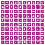 100 barbecue icons set grunge pink. 100 barbecue icons set in grunge style pink color isolated on white background vector illustration royalty free illustration